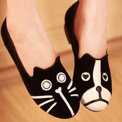 Mujeres de la lona del perro y Cat diseño para Mujer pisos mocasines Zapatos caseros moda