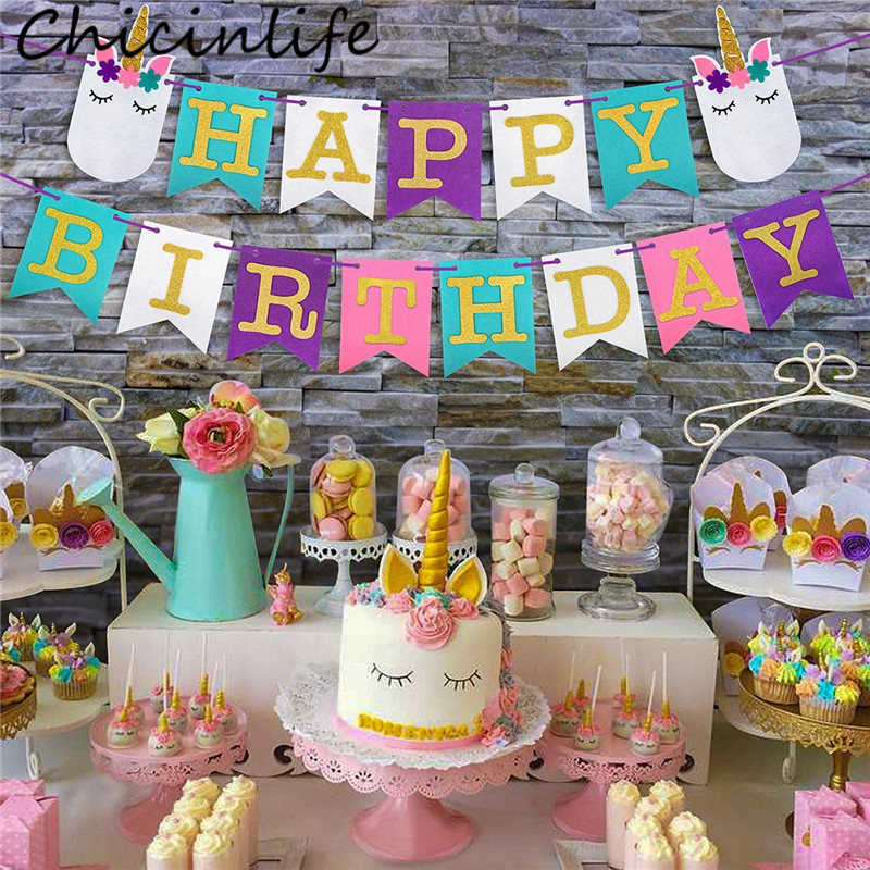 Chicinlife 1Set Mixcolor Unicorn Happy Birthday Banner Flags Unicorn Party Party Baby Shower Kids Favor Decoration Supplies unicorn party birthday decorations unicorn party 20cm artificial rose flowers banner cake topper baby shower party cake decor