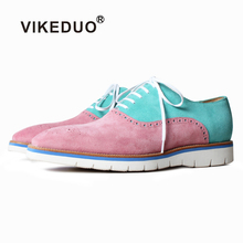 VIKEDUO Patchwork Cow Suede Leather Shoes Men Casual Summer Sneakers Handmade Driving Mans Footwear Wedding Oxford Brogues