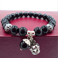 Natural black agate amethyst beads bracelets women bracelet jewelry with ancient silver crown water drop pendant 0220