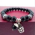 Natural de ágata preta esferas de ametista pulseiras mulheres pulseira de jóias com a antiga coroa de prata pingente gota de água 0220