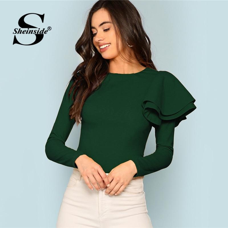 Sheinside Green Office Ladies Elegant T-shirt Zip Back Ruffle One Sleeve Tee Shi