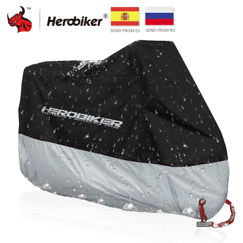 Herobiker Motorcycle Cover Outdoor Uv Protector Scooter Cover Bike Waterproof Dustproof Moto Rain Cover Indoor Lock-holes Design