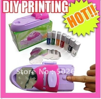 DIY Nail Stamping Printing Machine &Polish,Nail Art Set,Manicure Set 10pcs nail art stamping printing skull style stainless steel stamp for diy manicure template stencils jh461 10pcs