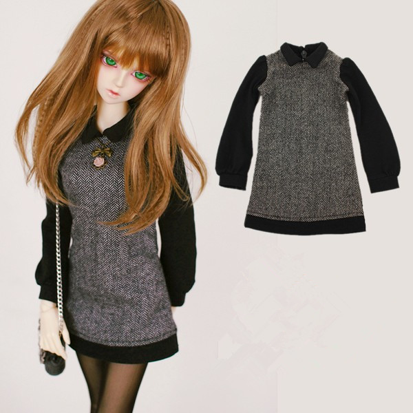 Fashion Woolen Grey Dress For BJD Girl 1/6, 1/4 MSD,1/3 SD10/13, SD16 LUTS.AS.DZ. Doll Clothes CWB10 new handsome fashion stripe black gray coat pants uncle 1 3 1 4 boy sd10 girl bjd doll sd msd clothes