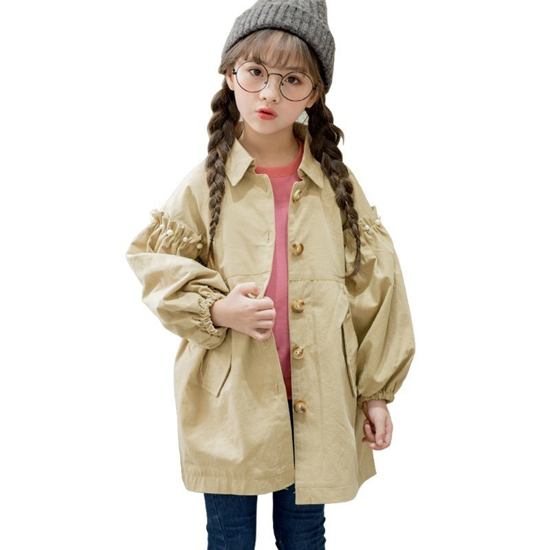2018 Spring Autumn   Trench   Coats For Girls Casual Solid Outwear Big Girl Pearl Decoration Lantern Sleeve Windbreaker Teen Clothes