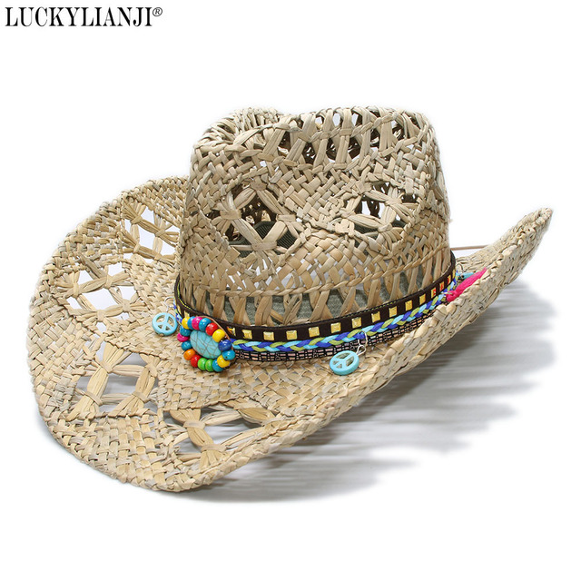 34fb2698b18e00 LUCKYLIANJI Women's Men's Vintage Wide Brim Straw Sun Beach Cowboy Cowgirl  Western Hat Turquoise Peace Sign Braid Band (58cm)