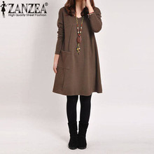 5 Colors ZANZEA Spring Autumn 2017 Elegant Women Dress Casual Long Sleeve Pocket Solid O Neck