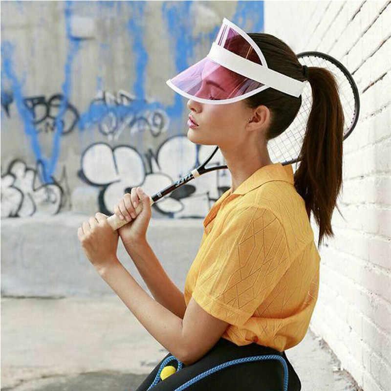 ฤดูร้อน PVC โปร่งใสหมวก Sun Visor PARTY หมวกพลาสติกผู้ใหญ่ครีมกันแดดหมวก Visors ผู้หญิงผู้ชายกลางแจ้งหมวก Lady หมวก