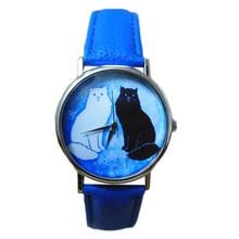 Wavors Precioso Gato de Dibujos Animados de Moda Reloj de Las Mujeres Vestido de Cuero de LA PU de Cuarzo Analógico Relojes de Pulsera Relogio Feminino 2016 Hot New