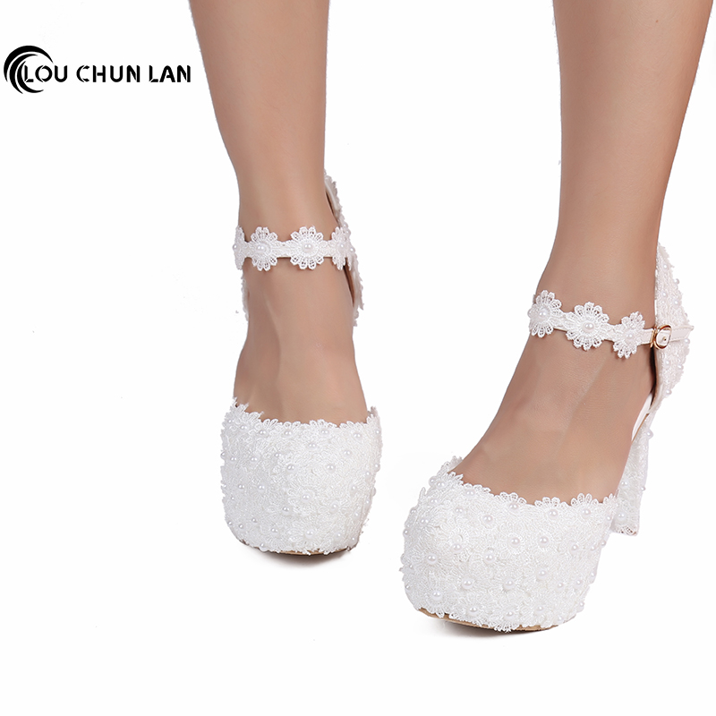 LOUCHUNLAN 12CM Women High Heels White Lace Flowers Pearl Women Pumps Shoes Wedding Soes Dress Shoes Party fashion Woman Shoes