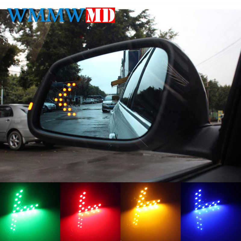 2 Pcs/lot 14 SMD LED Arrow Panel For Car Rear View Mirror Indicator Turn Signal Light Car LED Rearview Mirror Light Car styling