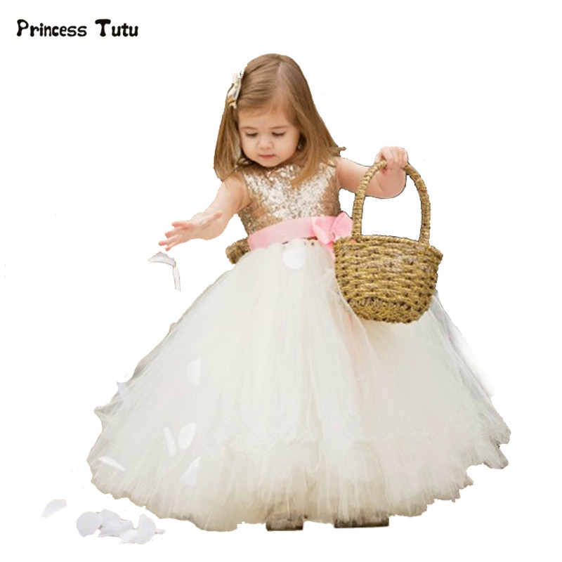 купить Flower Girl Dresses for Weddings Party Princess Gold Sequin Girls Tutu Dress Tulle Kids Pageant Ball Gown Dress Vestidos Custom дешево