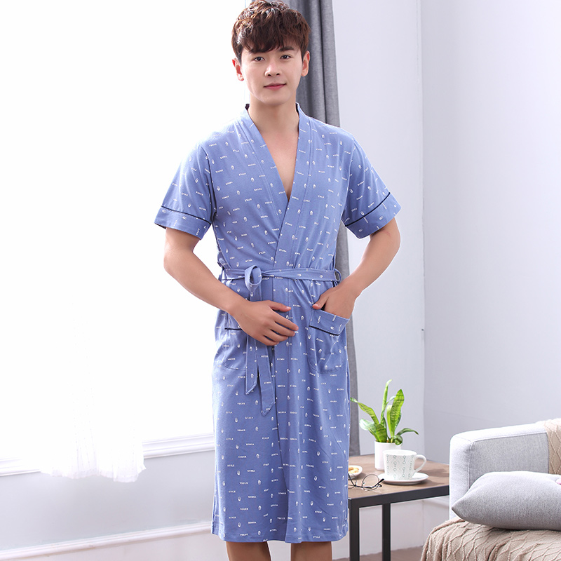Free Shipping Summer 100%Cotton Mens Short-sleeved Bathrobe Letter V-neck Cardigan Casua ...