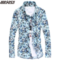 new arrival casual shits Floral Printing Men slim fit dress clothes stitching scotch style man clothing Plus size 5XL MXB0113