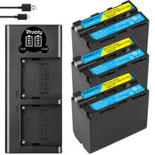 NP F960 NP F970 NP F960 NP F970 F950 Pin + Tặng Đèn LED Cổng USB Sạc Cho Sony PLM 100 CCD TRV35 MVC FD91 MC1500C L10 TR555 VX2200E D77