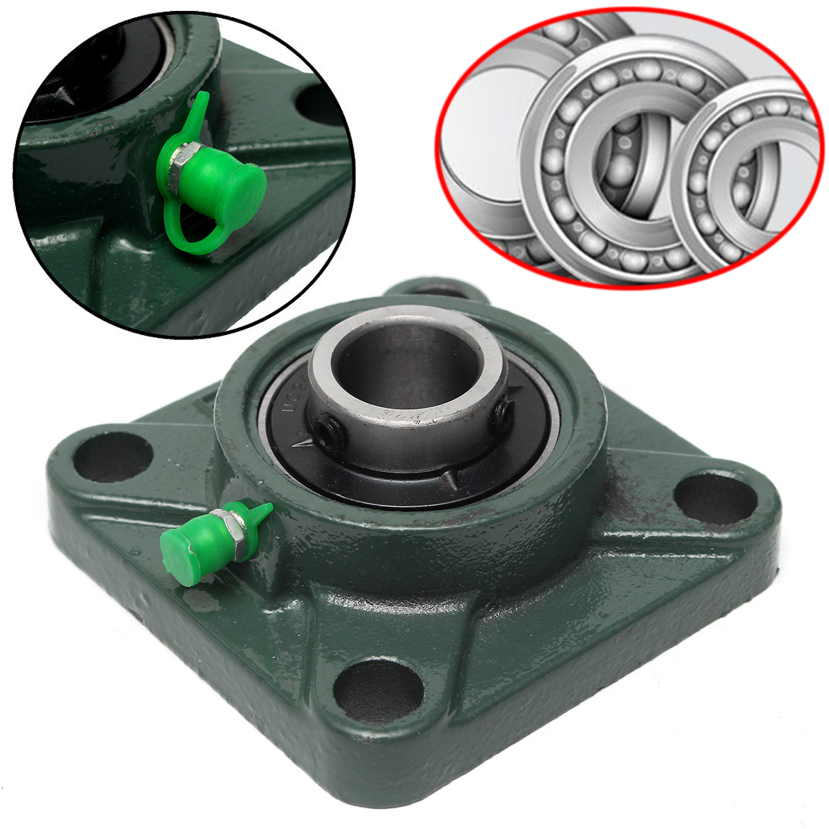 New UCF204 Mounted Bearings 20mm 4-Bolt Square Flange Pillow Block Bearing Housing Mayitr For CNC Parts lmk50luu lengthening square flange linear bearings 50mm 80mm 192mm