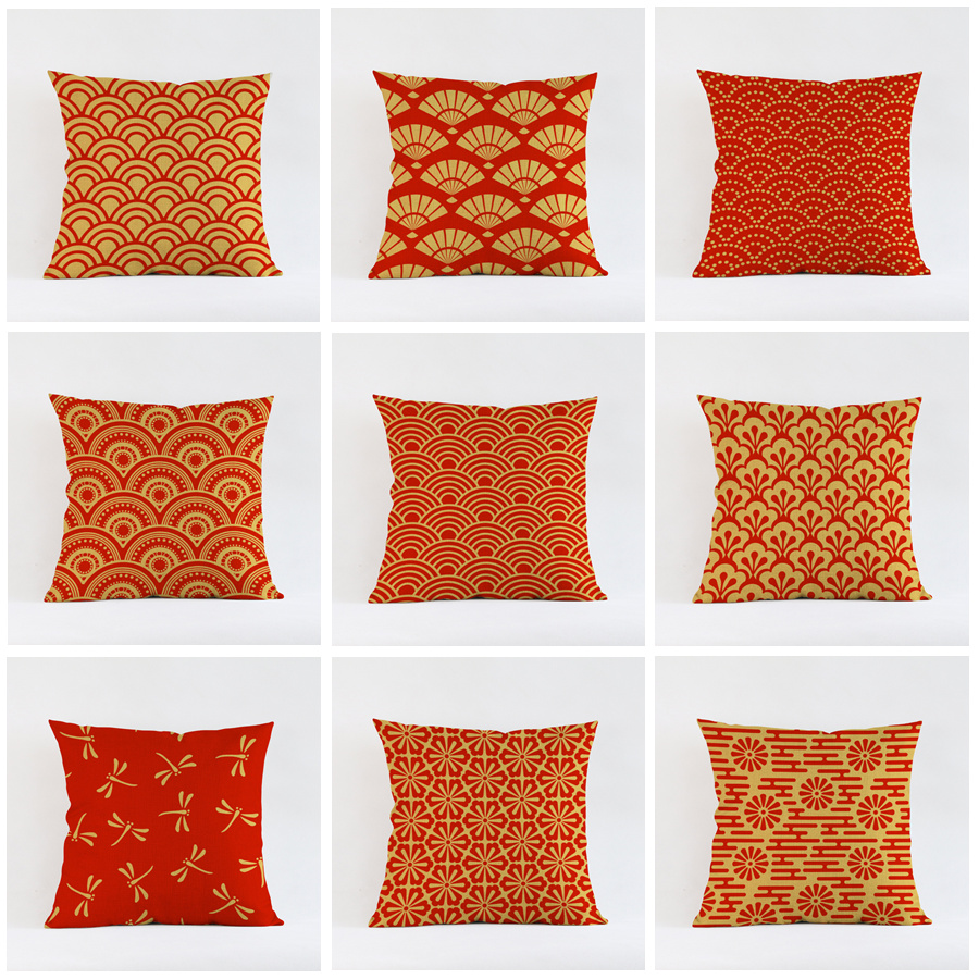 nordic yellow red wave cheap cushion cover cotton linen throw pillows cover decorative geometry pillow case