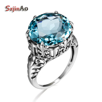 Szjinao 100% Pure 925 Sterling Silver Love Ring Luxury Round Blue Aquamarine Wedding Princess Crown Rings for Women art deco