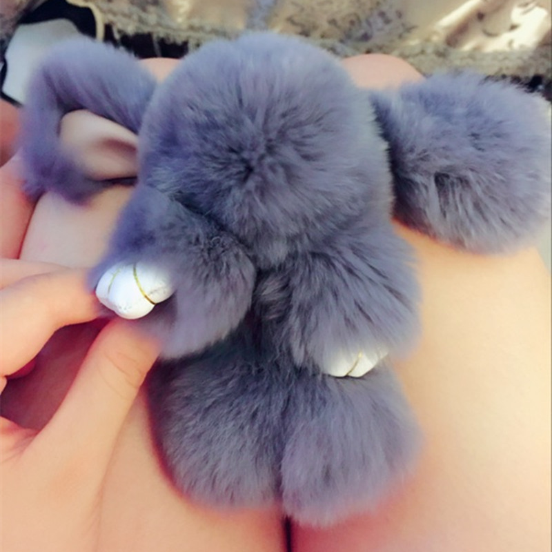 Furs Rabbit Stuffed Plush Toy With Ring Pendant Bag Car Charm Tag Cute Mini Rabbit Decoration Toy Doll Real Fur Monster Keychain rabbit plush keychain cute simulation rabbit animal fur doll plush toy kids birthday gift doll keychain bag decorations stuffed