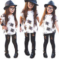 2017 New Fashion Baby Girl Clothes Short Sleeve T-shirt Tops + Hollow Out Pant Legging 2pcs Outfit Toddler Kids Clothing Set
