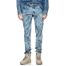 67f56dd2fc 2018 High Street Moda hombre Jeans azul Color Slim Fit elástico tobillo  cremallera Hip Hop Punk estilo de alta calidad lavado .