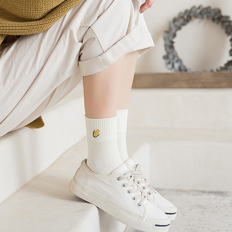 Thigh High Long Stockings Over Knee Socks Casual Socks With Vegetable Eggplant Mushroom Print