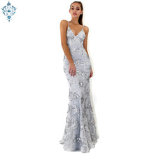Ameision Elegant Formal Mermaid Evening Gowns 2019 Sexy Long Party Tulle Embroidery Sequined Backless Women Dresses