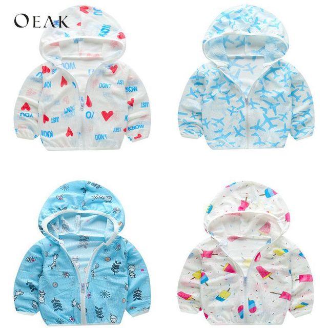 Oeak Summer Beach Sun Protection Jacket Shirt Baby Boy Hoodie Waterproof Coats Toddler Girls Wear Kid Windbreaker Clothing