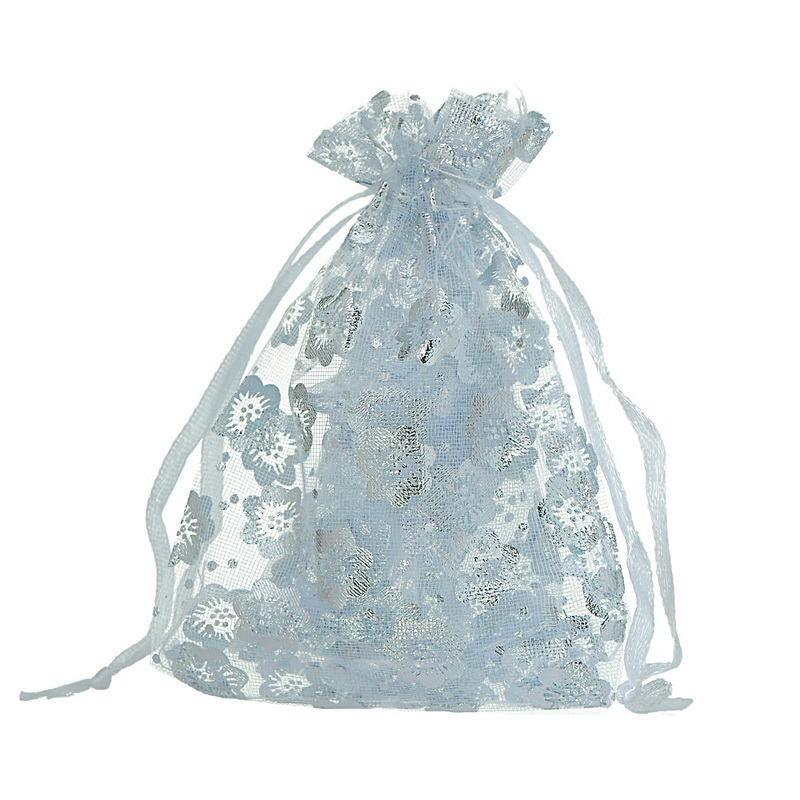 MJARTORIA 50PCs White Flowers Wintersweet Organza Bag Christmas Wedding X-mas Favor Pouches Bag For Gift Jewelry Bags Packaging