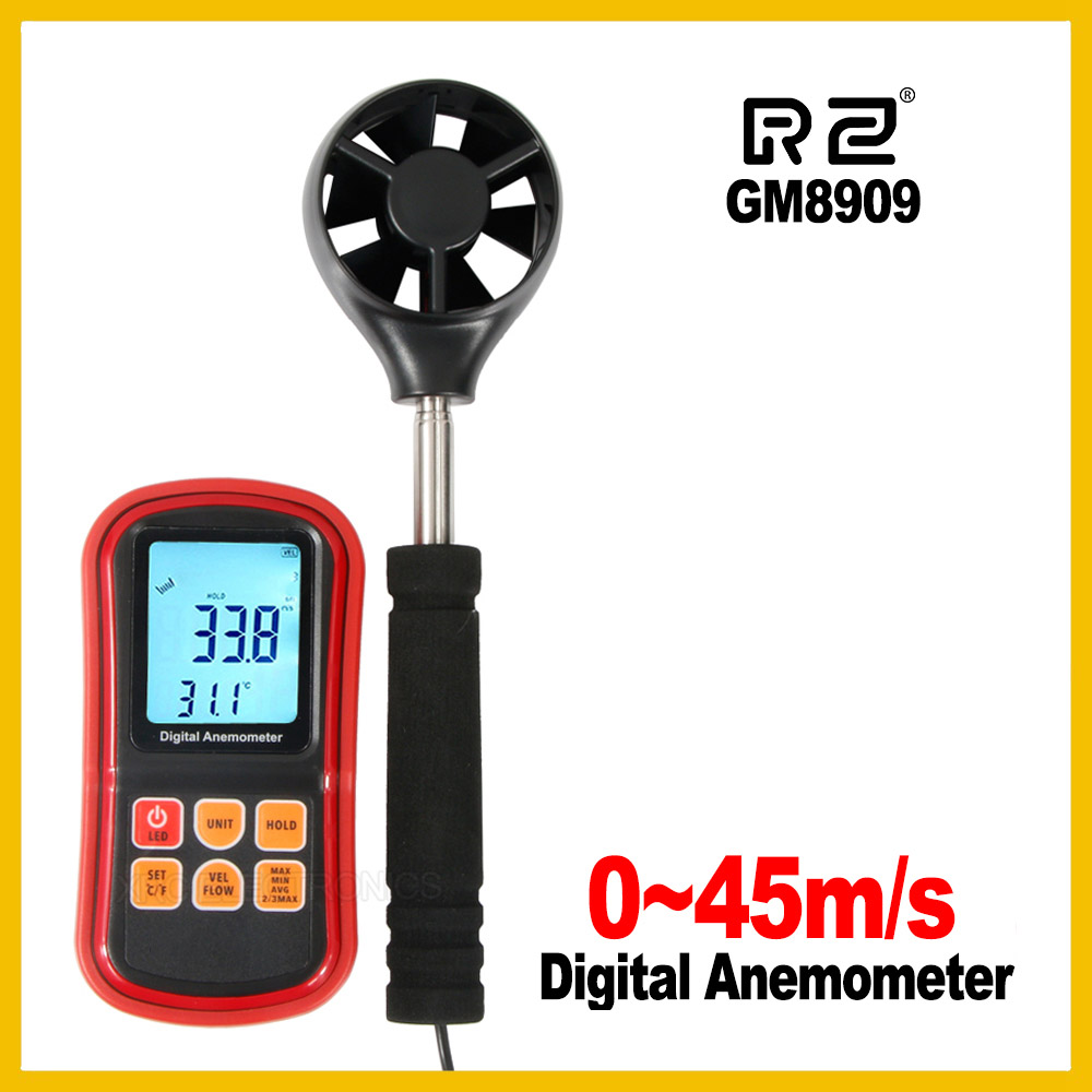 Digital Anemometer wind speed meter anemometer CFM CMM GM8909 Air Flow instrument Gauge Temperature LCD Display