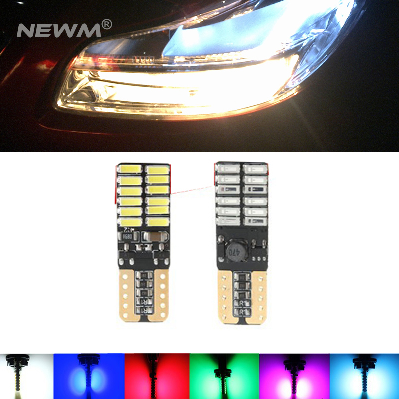 2x 800LM-1000LM <font><b>T10</b></font> <font><b>W5W</b></font> <font><b>CREE</b></font> Chip 24Led 4014 SMD Canbus Car Auto License Plate Dome Turn Singal Light White/Blue/Ice Blue/Red image