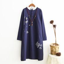 Chinese Style Flower Print Women Dress Vintage Plus Size Loose Autumn Long Dress Oversized Design Robe Longue Femme