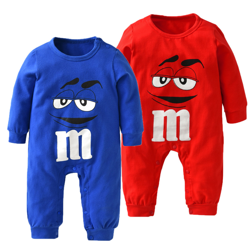 Qualified New 2018 Autumn Baby Boy Girl Clothes Newborn 100% Cotton Long Sleeve Blue And Red Cartoon Printing Jumpsuit Infant Clothing Set Good Taste Boys' Baby Clothing Clothing Sets