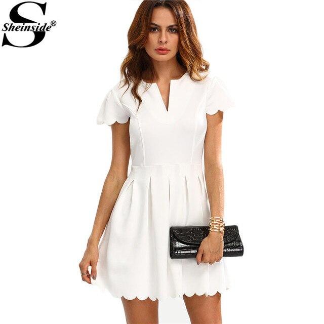 2016 Vestidos Mujeres De V Ropa Mini Liso Trabajo Sheinside Blanco dH5xYqFwd