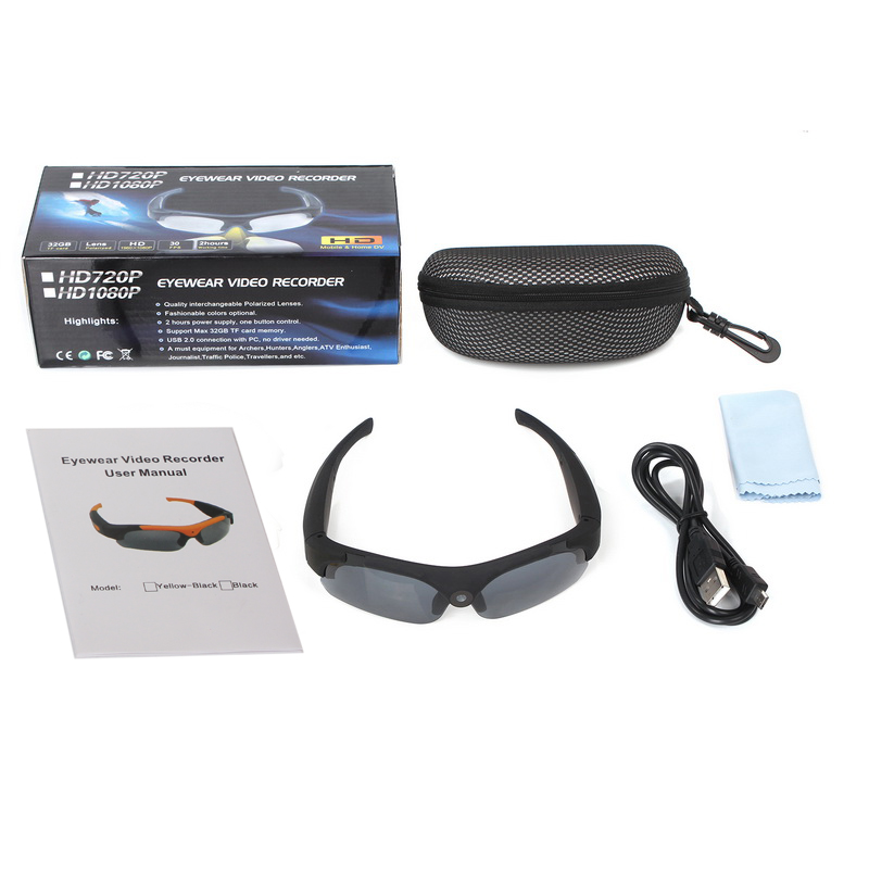 HD 1080P Sunglasses Mini Camera Wide angle 120 degrees Black/Orange Mini DV Camcorder DVR Video Camera Smart Glasses sm16 teer h800 1 6 tft display screen 120 wide angle hd 2 0mp cmos 1080p hfd camcorder black silver