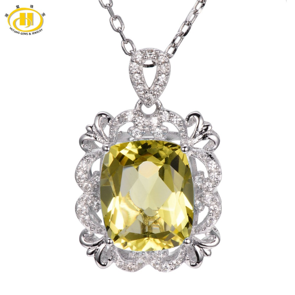 Hutang Stone Jewelry 5.55ct Natural Lemon Quartz Solid 925 Sterling Silver Vintange Pendant Necklace Gemstone Fine Jewelry Women