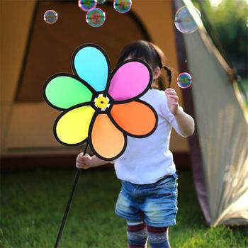 Colorful Rainbow Dazy Flower Spinner Wind Windmill Garden Yard Outdoor Decor