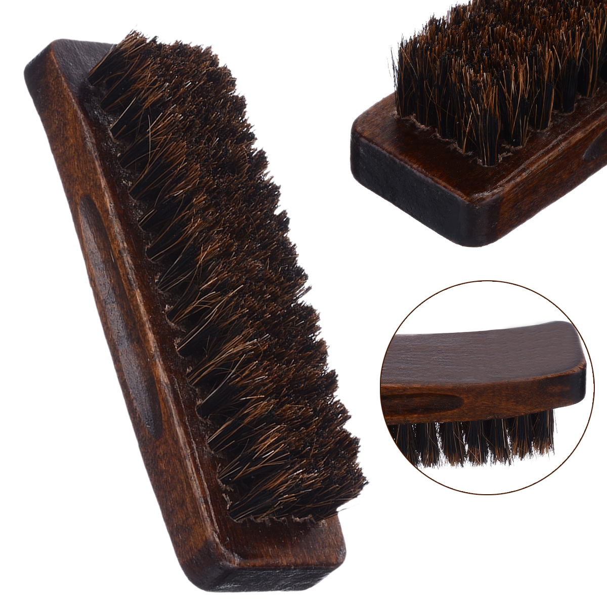 Wooden Handle Natural Bristle Horse Hair Shoe Shine Buffing Cleaning Brush Polishing Tool Home Cleaning Gadget