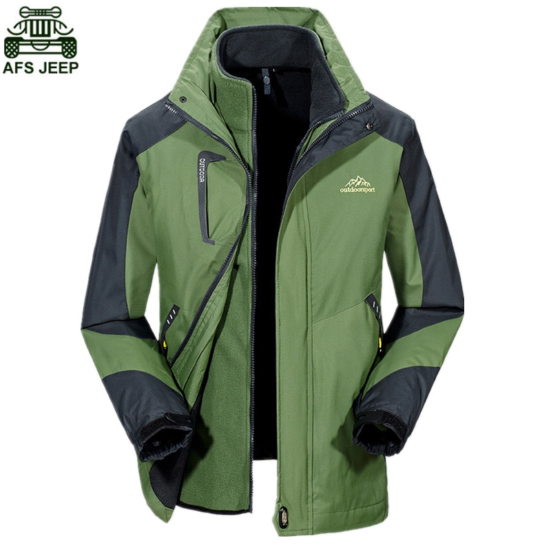 AFS JEEP Brand Softshell Jacket Waterproof Windproof Outdoor Camping Hiking Clothing Hunting Clothes Rain Fleece Winter Coat Men