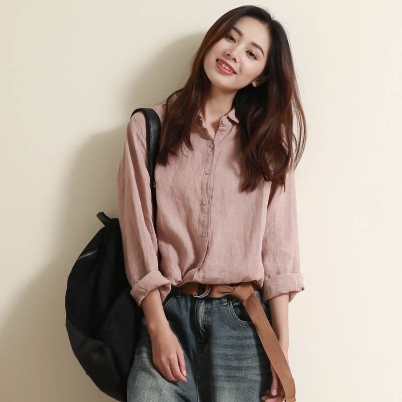 Spring Autumn Women Loose Casual All match Vintage Linen Shirts