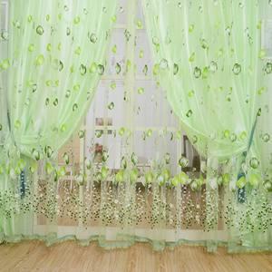 High Quality 1Pcs Set Charm Tulip Flower Yarn Sheer Window Curtain Beads Tassel Door Scarf Drapes For Bedroom Decor
