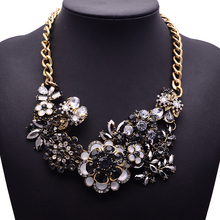 XG202 New Arrival 2015 Vintage Necklaces & Pendants Long Black Crystal Statement Necklace Gold Chain Flower Jewelry For Women