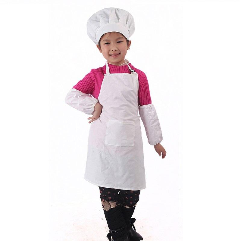 ᗜ LjഃAlgodón blanco niños delantal y Gorro de cocinero cocina ...