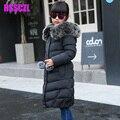 Девушка зима пуховики Девушка долго женский большая девочка ребенка одежда 2016 новый толстый слой верхней одежды с капюшоном меховой воротник куртка