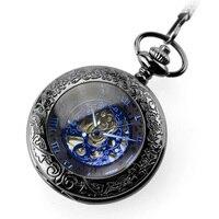 Antique Skeleton Blue Roman Numerals Dial Black Alloy Case Mechanical Hand Wind Long Fob Chain Clock Men Pocket Watch