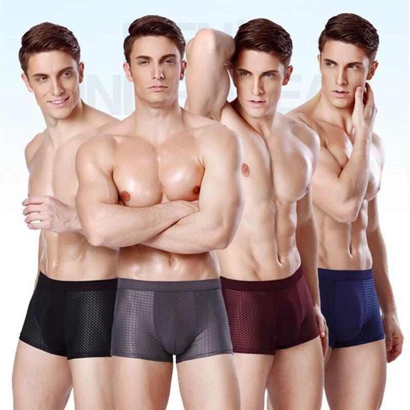 4pcs Mens Underwear Boxers Men Boxer Underwear Boxershort Panties Man Boxeur Homme Underpants Calzoncillos Bamboo Fiber Shorts in Boxers from Underwear Sleepwears