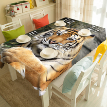 Customizable Polyester Cotton 3d Tablecloth Tigers/Lions/Zebra Animal Pattern Waterproof Rectangular&Round Cartoon Table cloth