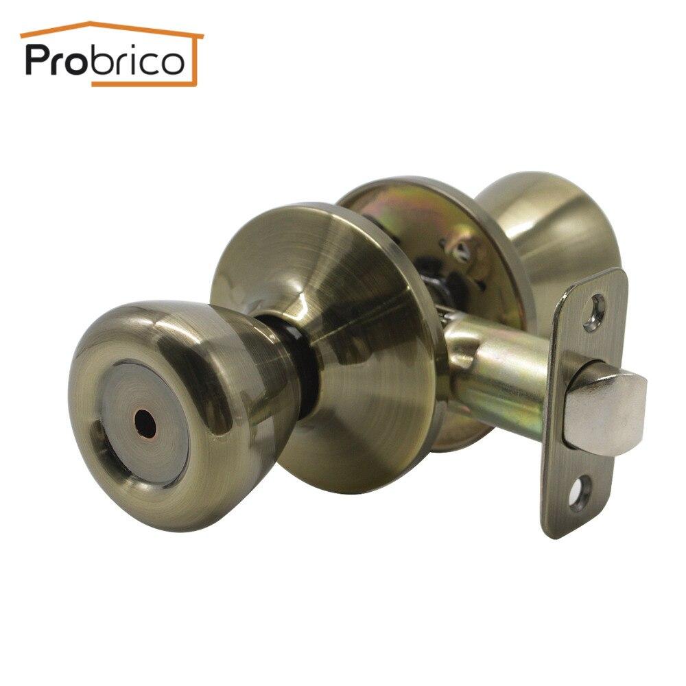Probrico Keyless Privacy Door Locks Antique Bronze Tulip Shape Interior Door Handles Set Toilet Door Locks Hareware For Bedroom