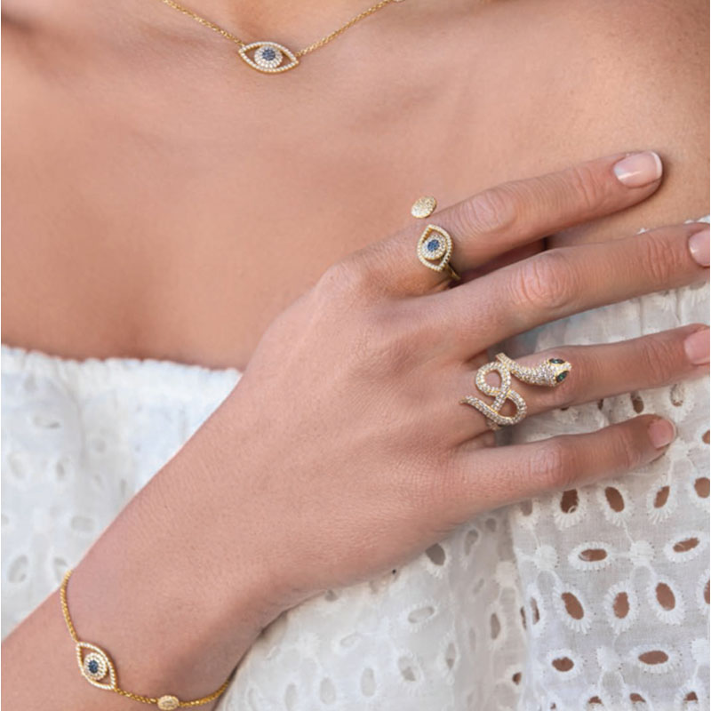 SKA Brand Monaco Style Rings For Women 925 Silver Inlaid AAA Zircon Snake Shape Green Eyes Woman Ring Fashion Jewelry A15301XGY stylish zircon inlaid hollow ring for women